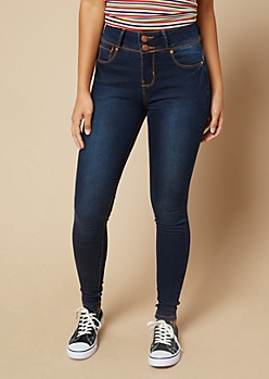 Dark Wash High Waisted Double Button Skinny Booty Jeans
