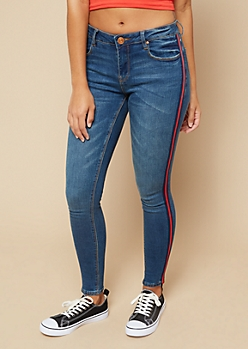 Dark Wash Mid Rise Side Striped Skinny Jeans