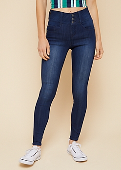 Dark Wash Mid Rise Triple Button Booty Jeans