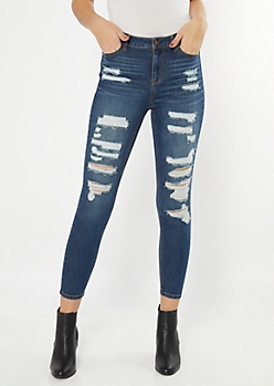Dark Wash High Rise Ripped Jeggings