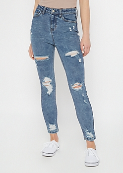 Recycled Dark Wash Ripped Skinny Jeans