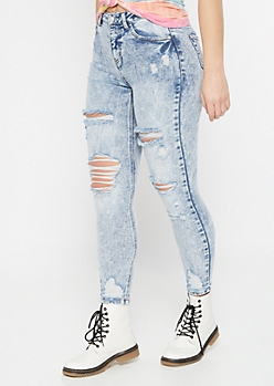 Recycled Acid Wash Distressed Skinny Jeans