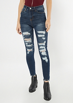 Throwback Recycled Dark Wash High Waisted Skinny Jeans