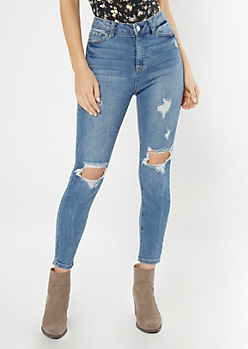 Throwback Recycled Medium Wash High Waisted Skinny Jeans