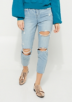 Light Wash Raw Hem Ripped Cropped Jeans