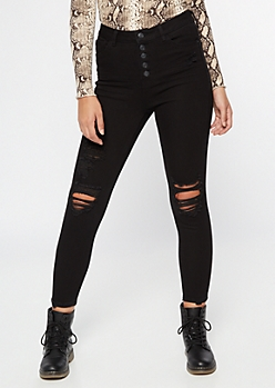 Recycled Black Ripped Button Down Throwback Jeggings