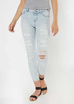 Light Wash Recycled High Waisted Shredded Jeggings