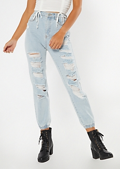 Light Wash High Waisted Shredded Jeggings