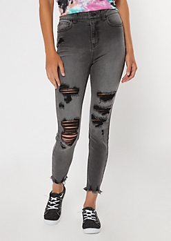 Recycled Dark Gray Wash Ripped Hem Jeggings