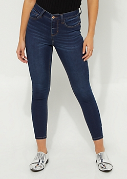 Dark Wash High Waisted Ankle Jeggings