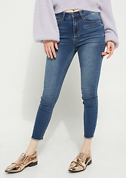Dark Wash High Waisted Frayed Ankle Jeggings