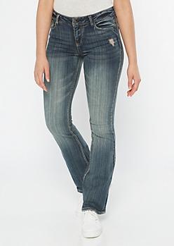 Dark Rustic Wash Bootcut Jeans