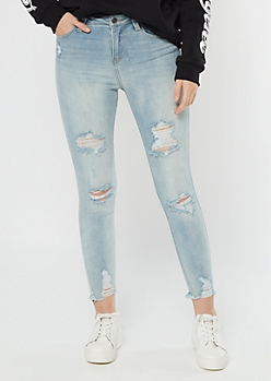 Recycled Light Wash Frayed Throwback Jeggings