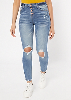 Recycled Medium Wash Button Fly Ripped Knee Jeggings