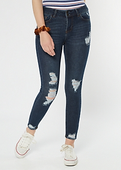 Recycled Throwback Dark Wash Ripped Jeggings