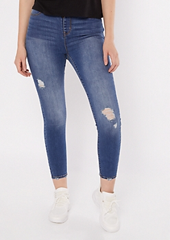 Medium Wash High Rise Pull On Jeggings