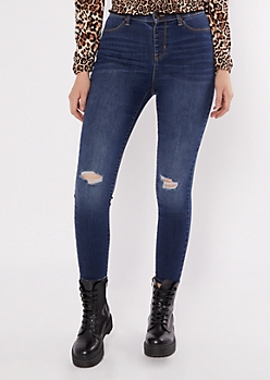 Dark Wash High Rise Pull On Jeggings