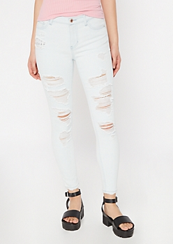 Throwback Recycled Light Wash Destroyed Skinny Jeans