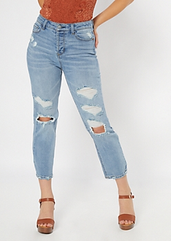Recycled Light Wash Blown Knee Straight Leg Jeans