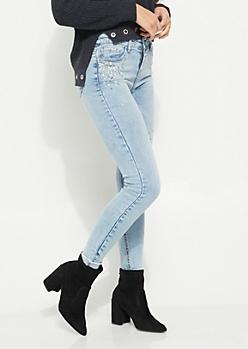 Embellished Vintage Ankle Skinny Jeans