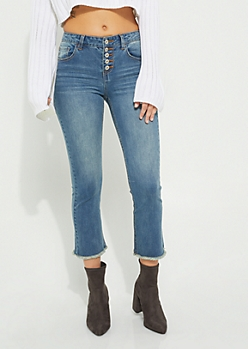 Light Wash Button Front Cropped Jeans