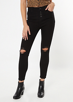 Recycled Black Ripped Button Front Jeggings