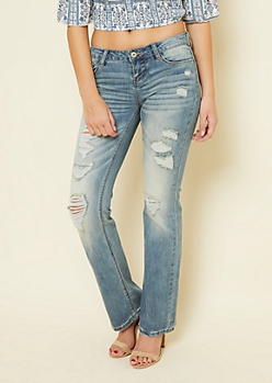 Light Wash Distressed Mid Rise Bootcut Jeans