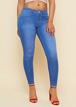 Medium Wash Single Button Pull On Jeggings