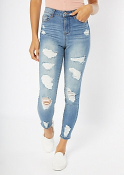 Light Wash High Waisted Ripped Ankle Jeggings