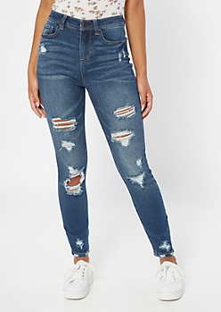Recycled Throwback Dark Wash Distressed Skinny Jeans