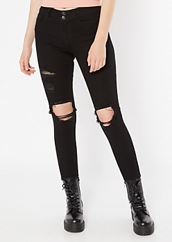 Recycled Throwback Black Distressed Skinny Jeans