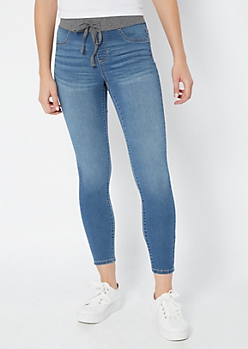 Medium Wash Drawstring Pull On Jeggings
