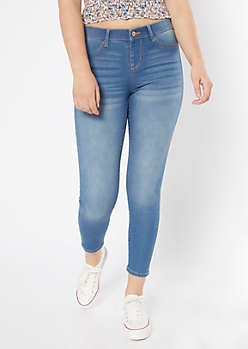 Medium Wash Pull On Jeggings