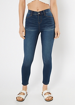 Dark Wash Skinny Pull On Jeggings