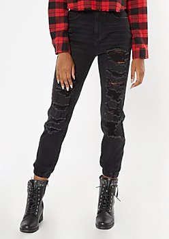 Black Ripped And Repaired Jogger Jeans