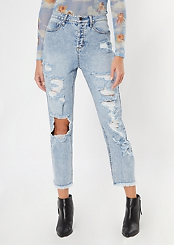 Medium Wash Ultra High Waist Boyfriend Jeans