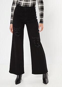 Black Ultra High Waist Distressed Skater Jeans