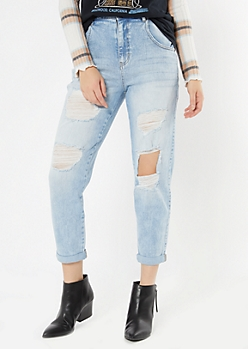 Light Wash Rolled Cuff Ripped Jeans