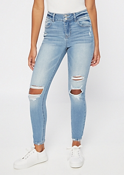Recycled Light Wash Distressed Throwback Skinny Jeans