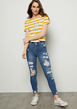 Medium Wash Destroyed Double Button Cropped Jeggings