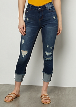 Dark Wash Rolled Cuff Low Rise Skinny Jeans