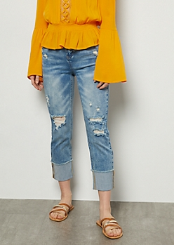Light Acid Wash Distressed Cuffed Skinny Jeans