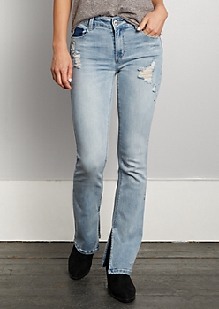 Light Wash Side Split Boot Cut Jeans
