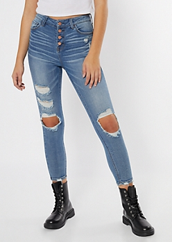 Recycled Throwback Medium Wash Ripped Skinny Jeans