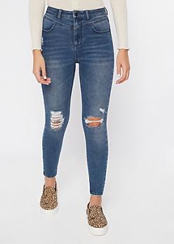 Recycled Throwback Dark Wash Rip Knee Skinny Jeans