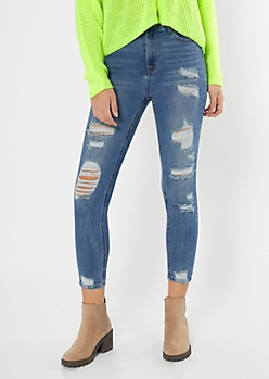 Recycled Throwback Medium Wash Distressed Skinny Jeans