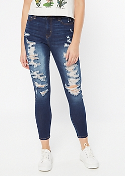 Dark Wash High Waisted Distressed Ankle Jeggings