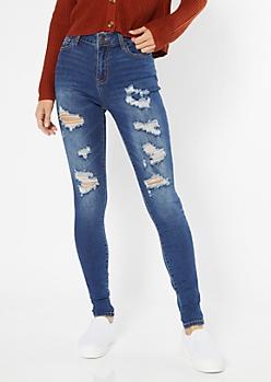 Dark Wash Distressed Mid Rise Skinny Jeans