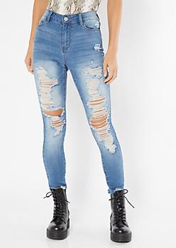 Medium Wash Distressed Frayed Skinny Jeans