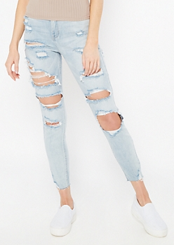 Cello Light Wash High Waisted Ripped Ankle Jeans